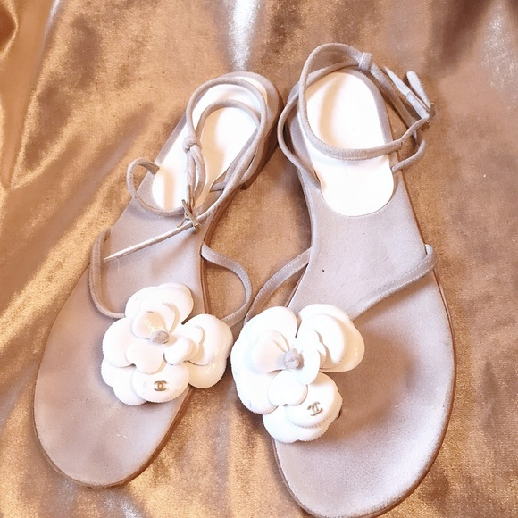 e8a44cbecaa CHANEL Shoes - Chanel White and Gray Suede Camellia Sandal